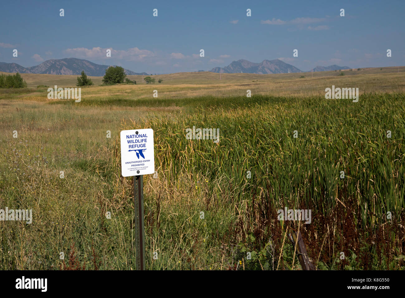 Denver, Colorado - The Rocky Flats National Wildlife Refuge, formerly the site of a nucler weapons plant that was - Stock Image