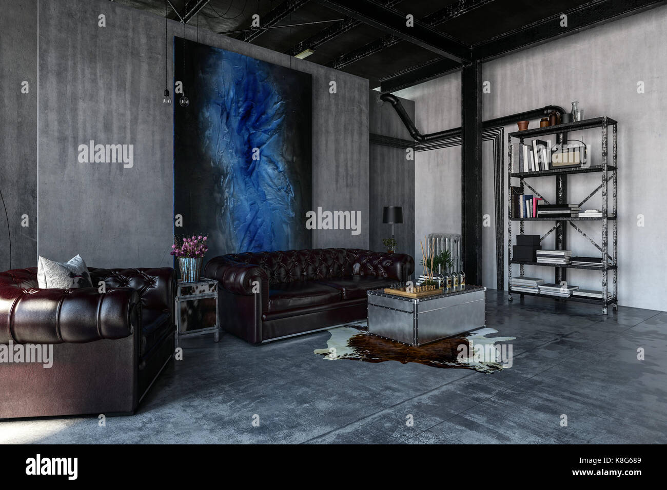 . A modern  contemporary  industrial style polished concrete living