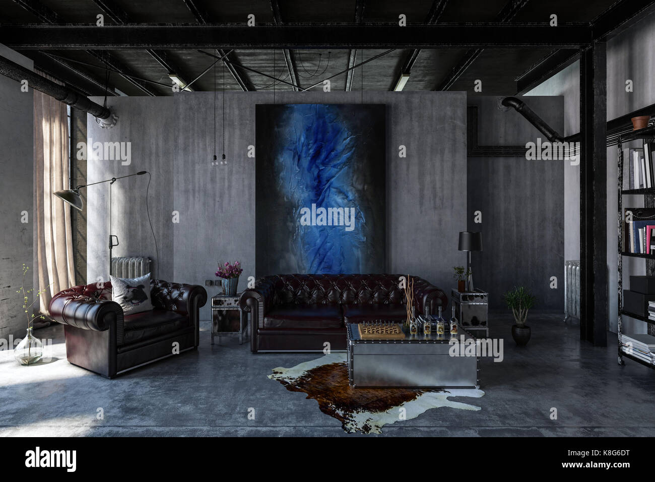 A contemporary, industrial polished concrete living room interior ...