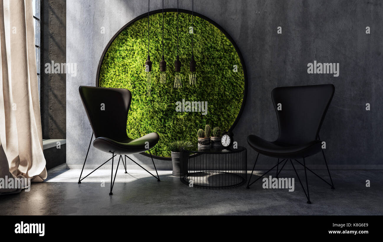 Two chairs with small table standing by round moss wall art & Two chairs with small table standing by round moss wall art Stock ...