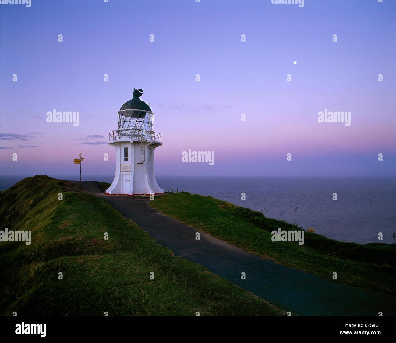 New Zealand. North Island. Cape Reinga lighthouse at dusk. - Stock Image