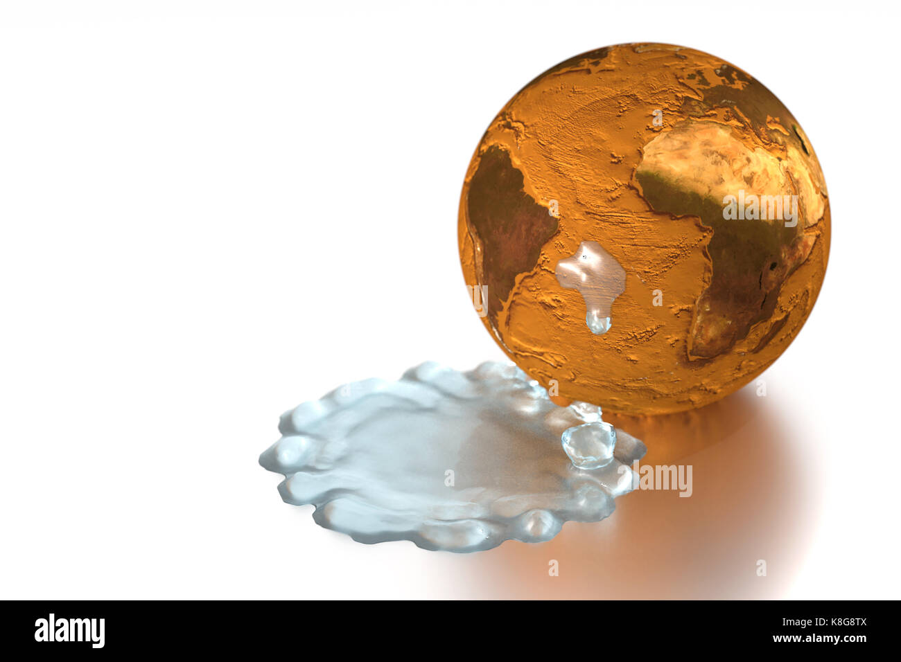 This graphic illustration shows the planet Earth without oceans. Water that dripped away spreads. An ecological - Stock Image