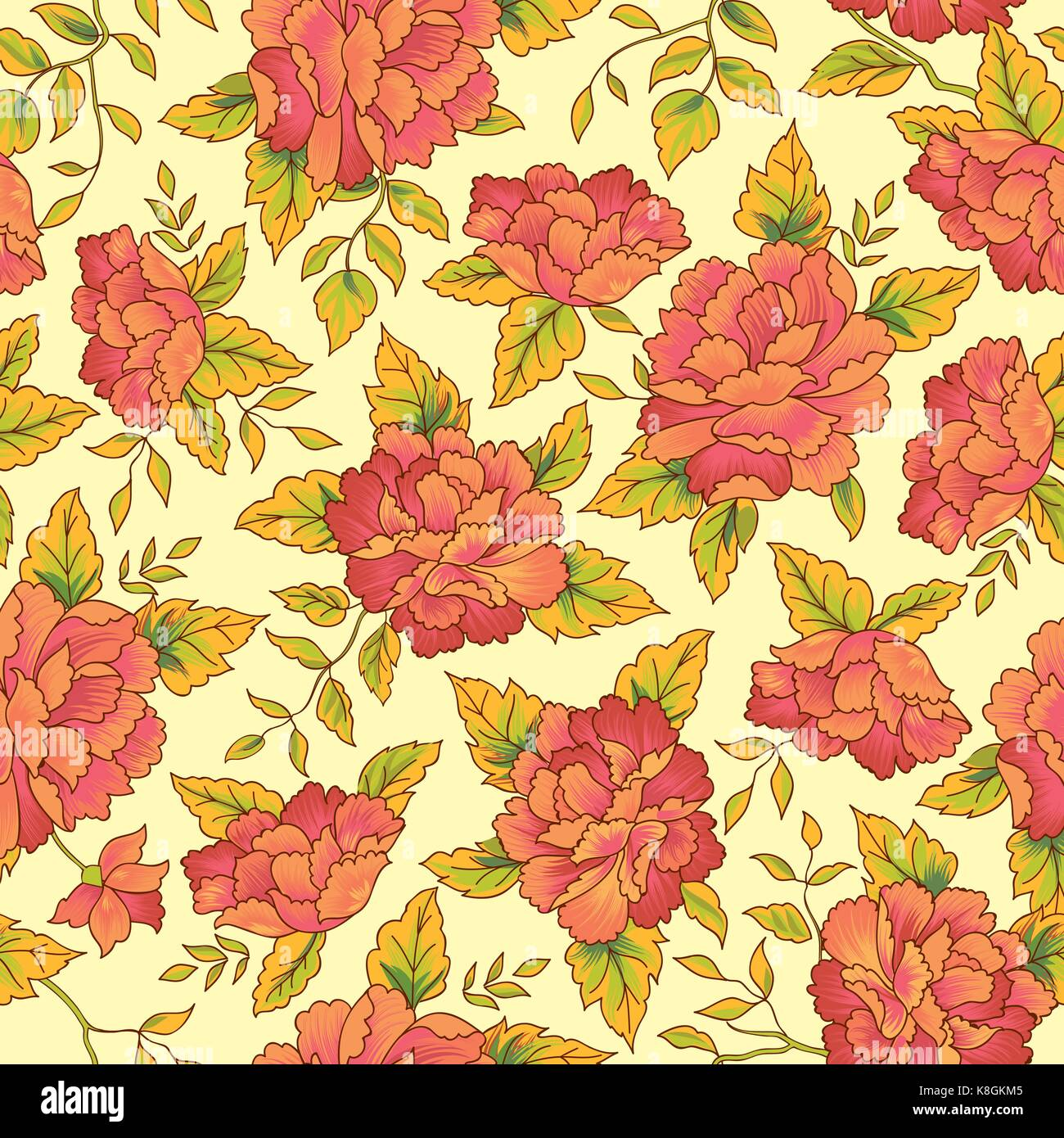 c8b0dd248 Floral pattern in chinese embroidery style. Flower seamless background.  Flourish ornamental garden - Stock