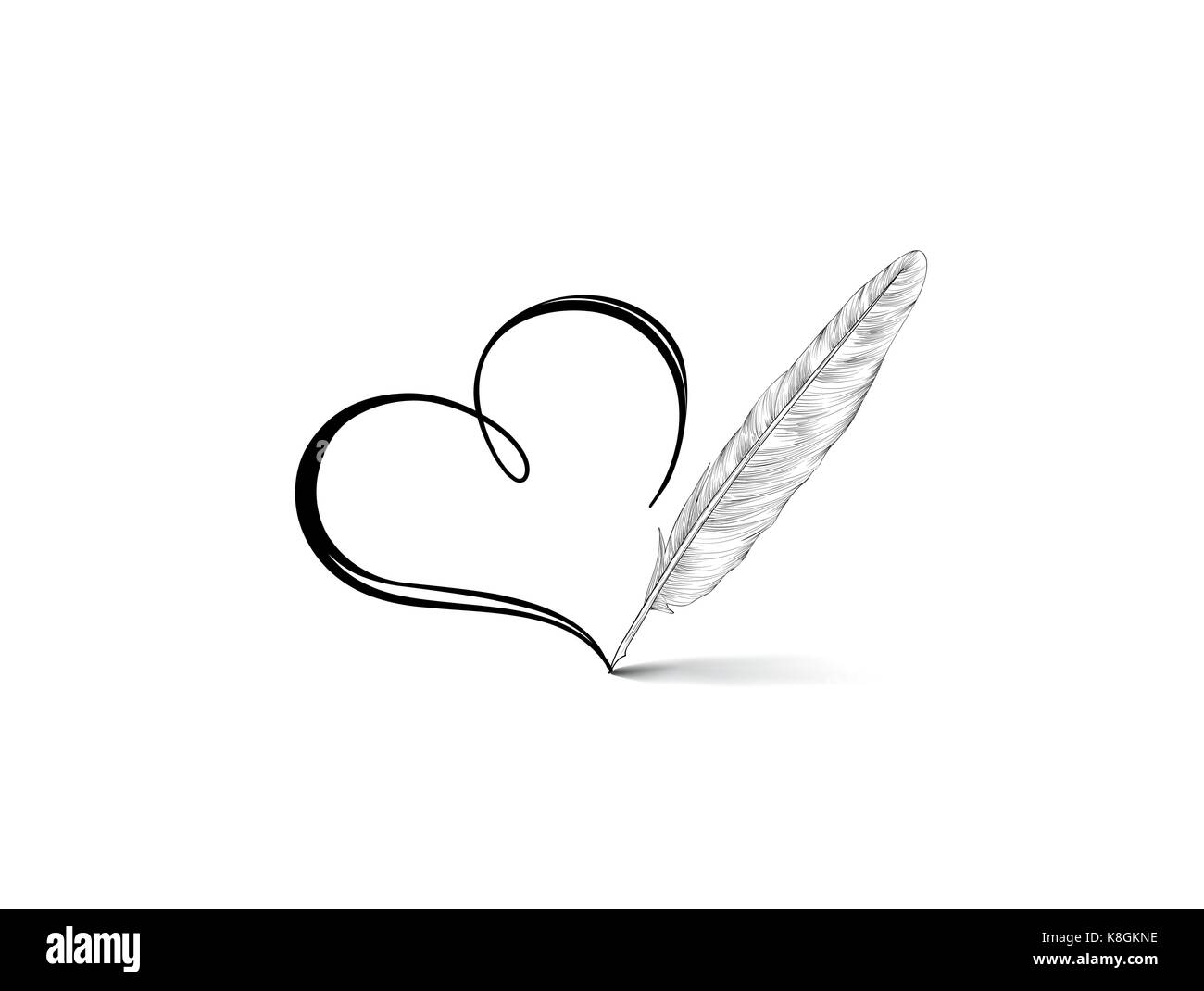 Line Art Feather : Love heart calligraphic hand drawn sign written by retro feather