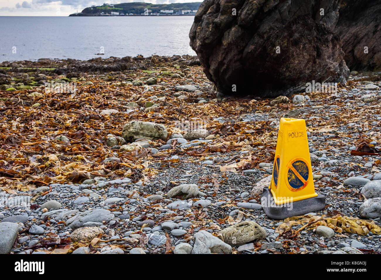 Plastic no waiting cone on beach in Douglas, Isle of Man - Stock Image