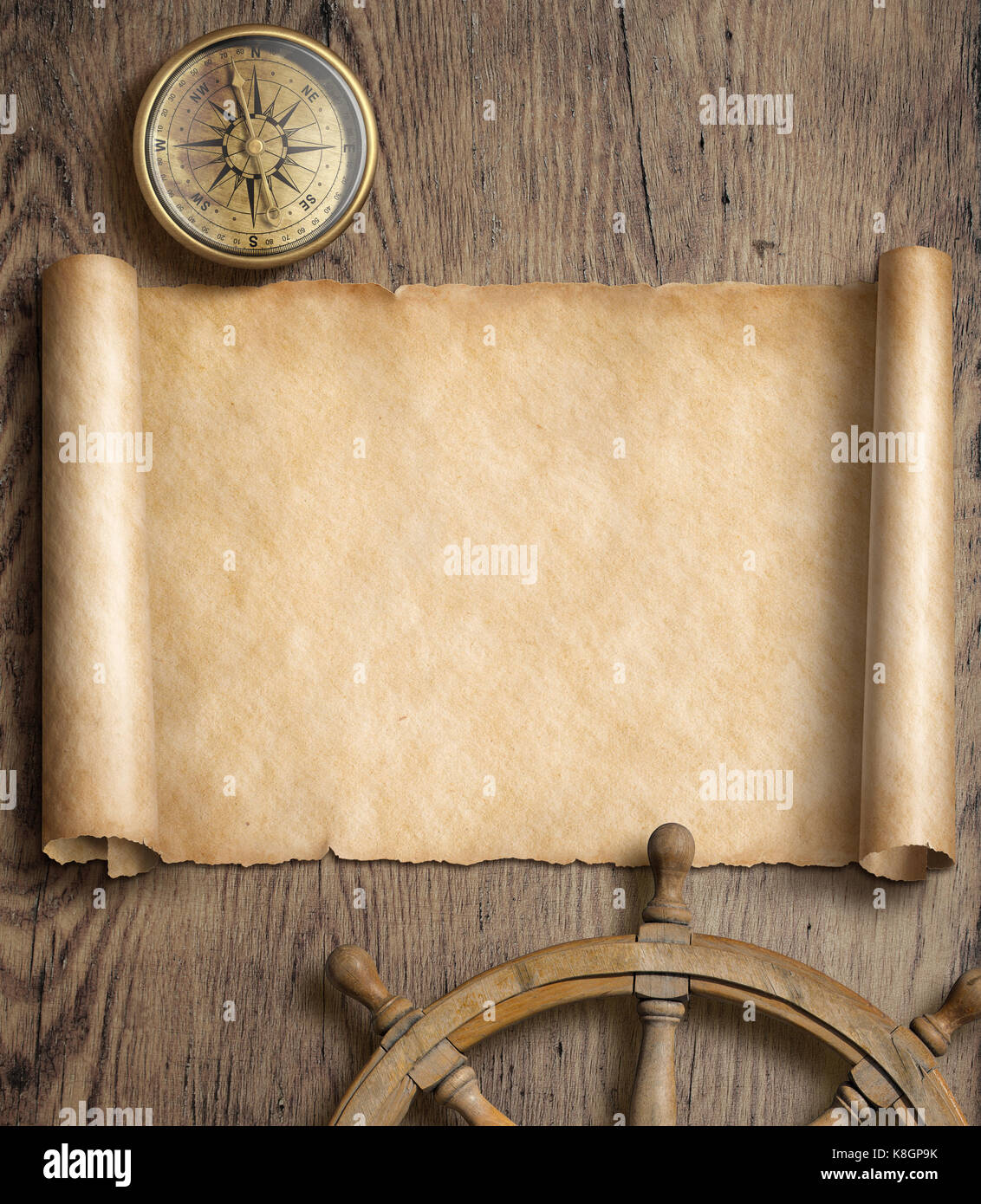 Old map background with comp and wheel on wood. Adventure or ... Old Map Background on