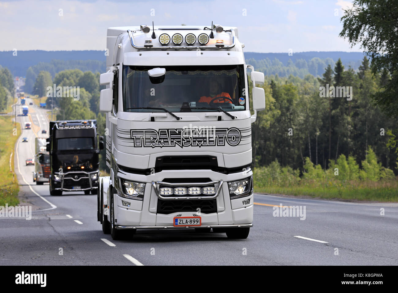 IKAALINEN, FINLAND - AUGUST 10, 2017: Black and white customized Renault Trucks T semi tractor with light accessories - Stock Image
