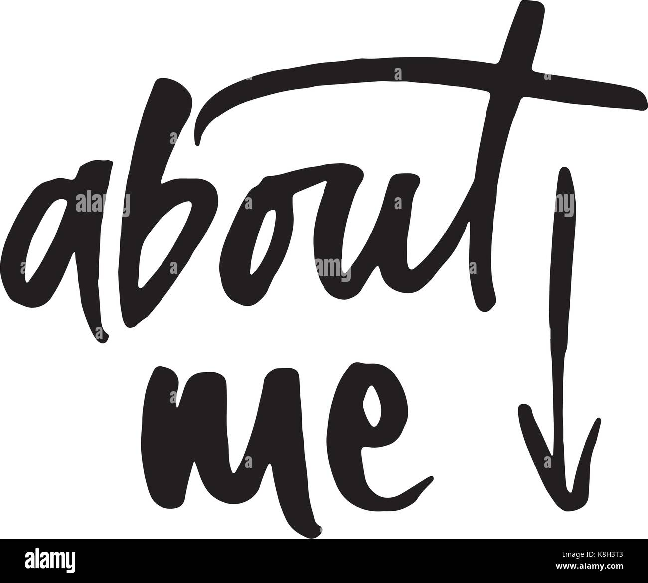 Hand drawn word -About me . Lettering design for posters, t-shirts, cards, invitations, stickers, banners advertisement - Stock Vector