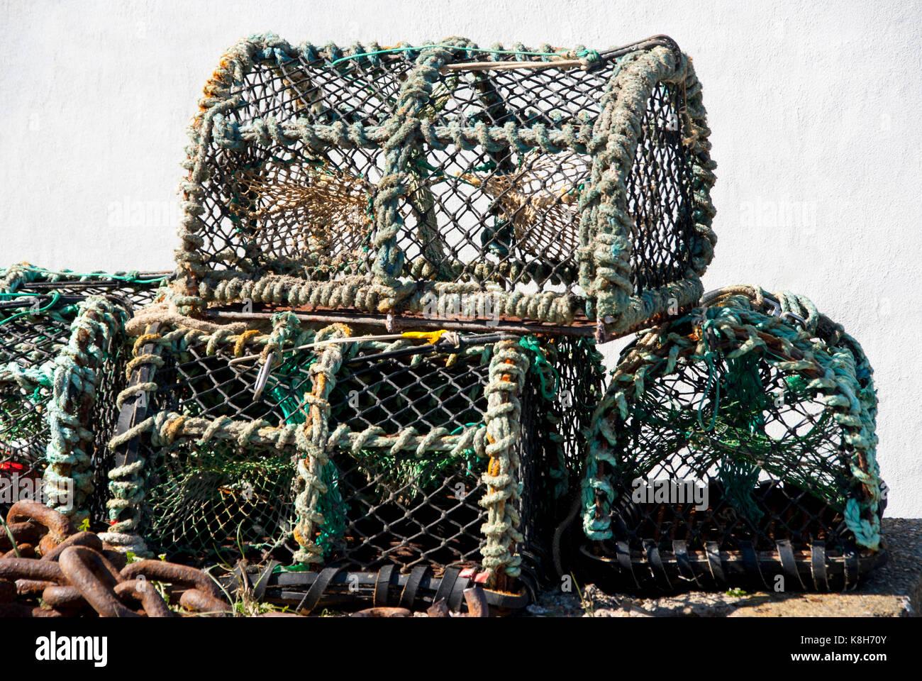 Lobster Baskets in Denmark - Stock Image