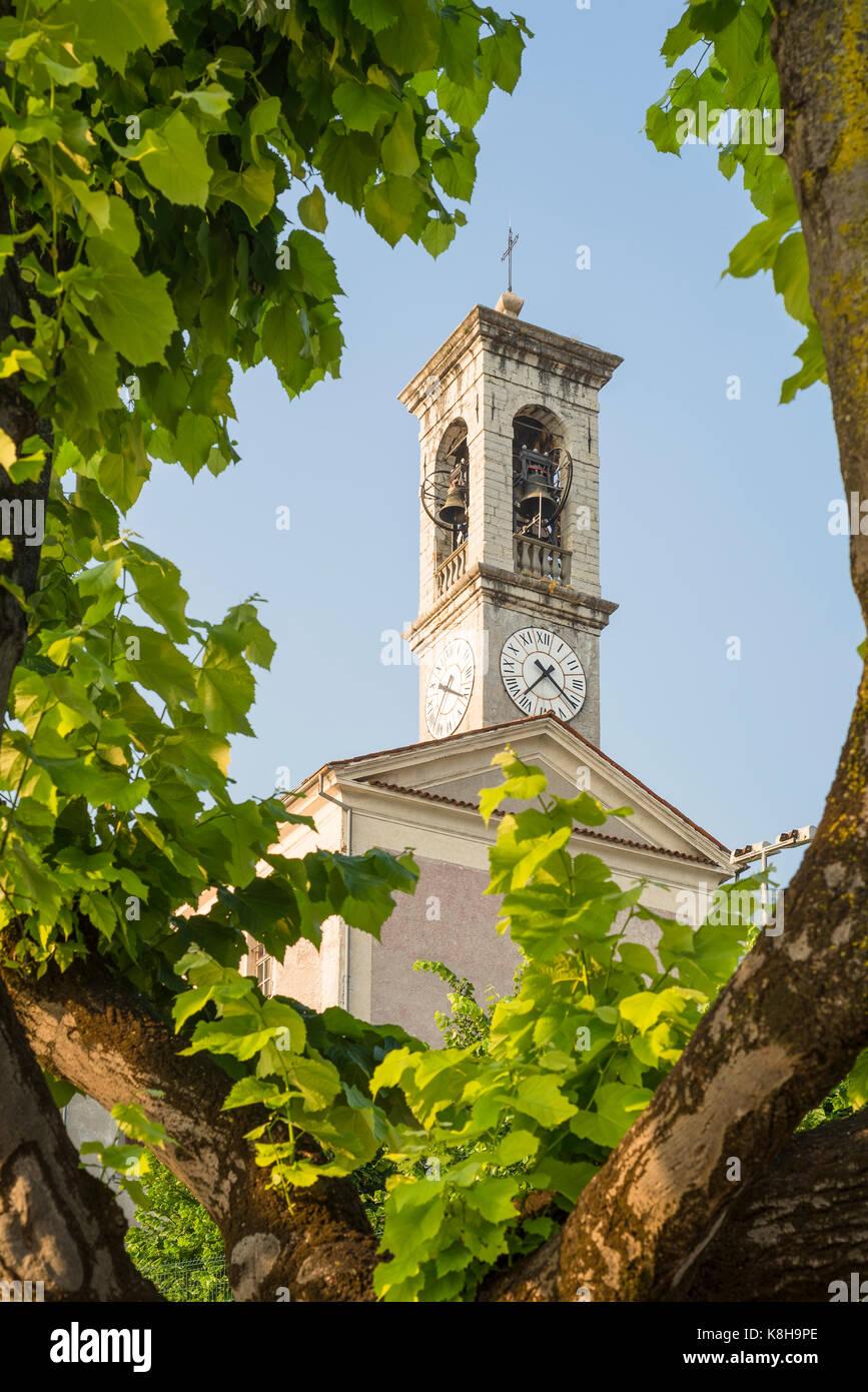 Italienischer Kirchturm mit Glocken und Zifferblatt eingerahmtz von Blättern und Ästen einer Platane imSonnenlicht, - Stock Image