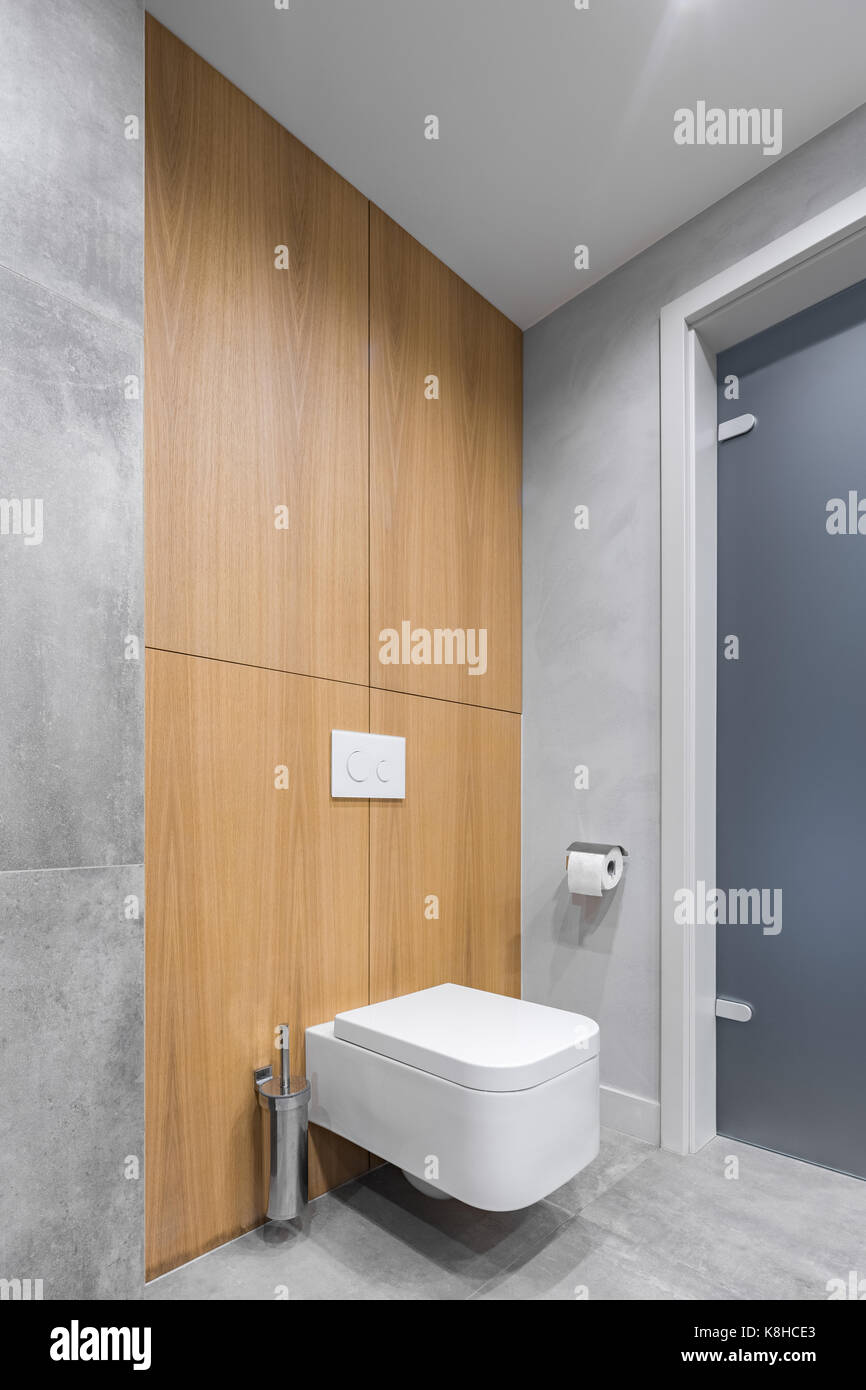 Gray bathroom with white toilet, and modern tiling with