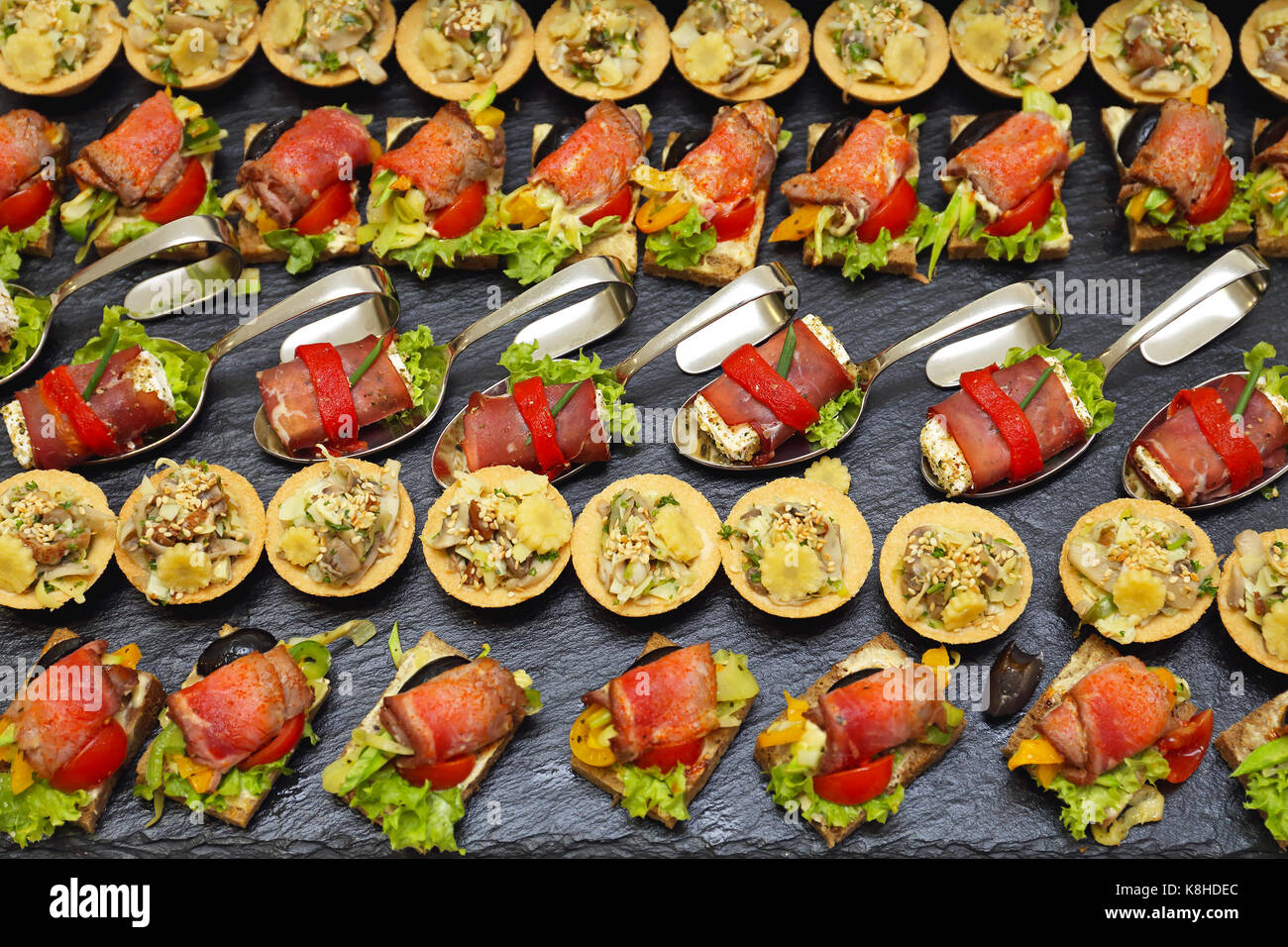 Decorative Garnished Modern Canapes Served at Party - Stock Image