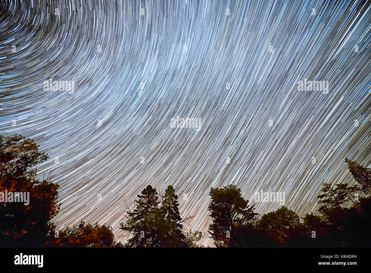 milky way long stars trails around north star over trees silhouettes foreground highlighting earth rotation - Stock Image