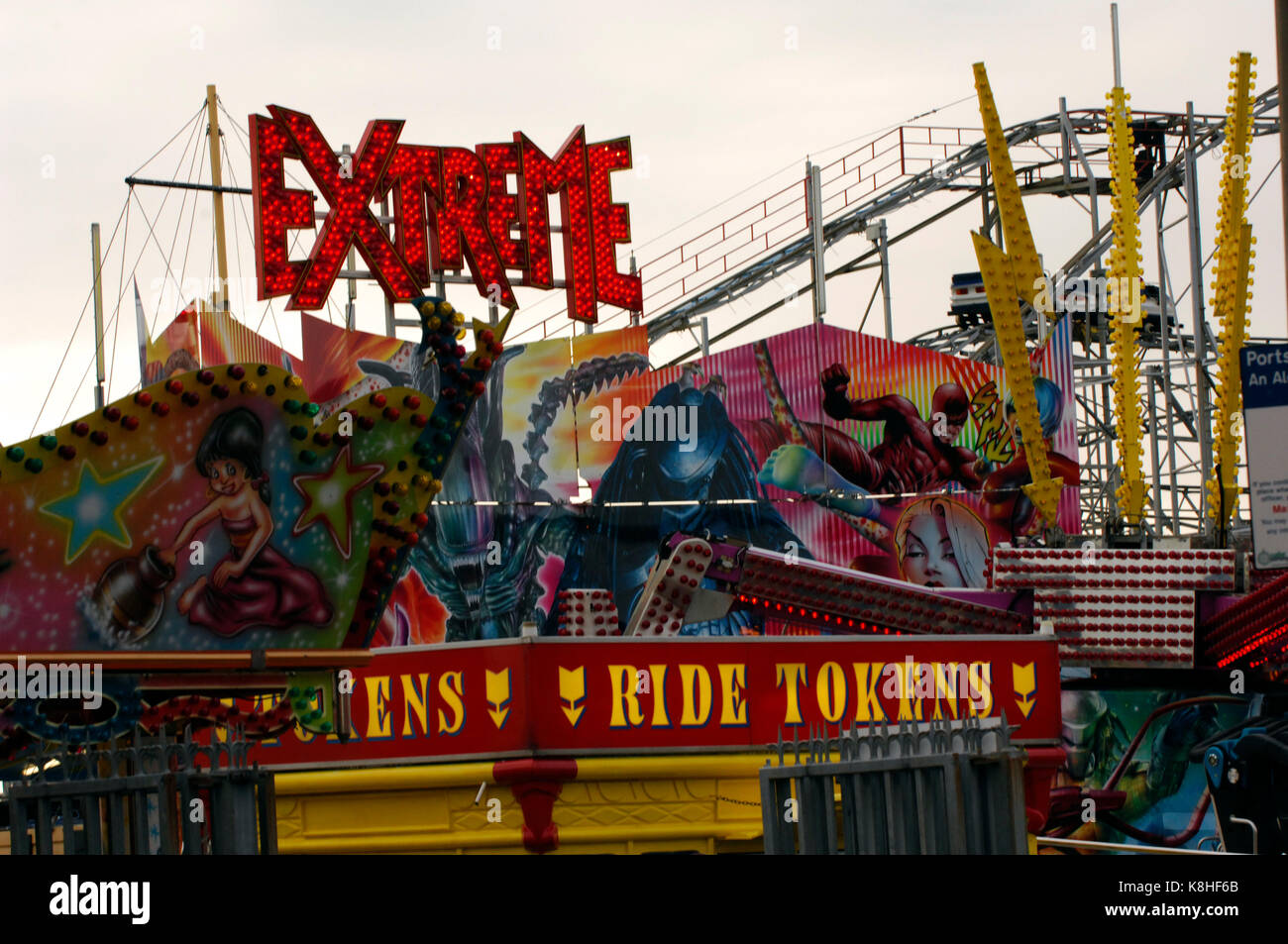 a fairground or funfair extreme ride. - Stock Image