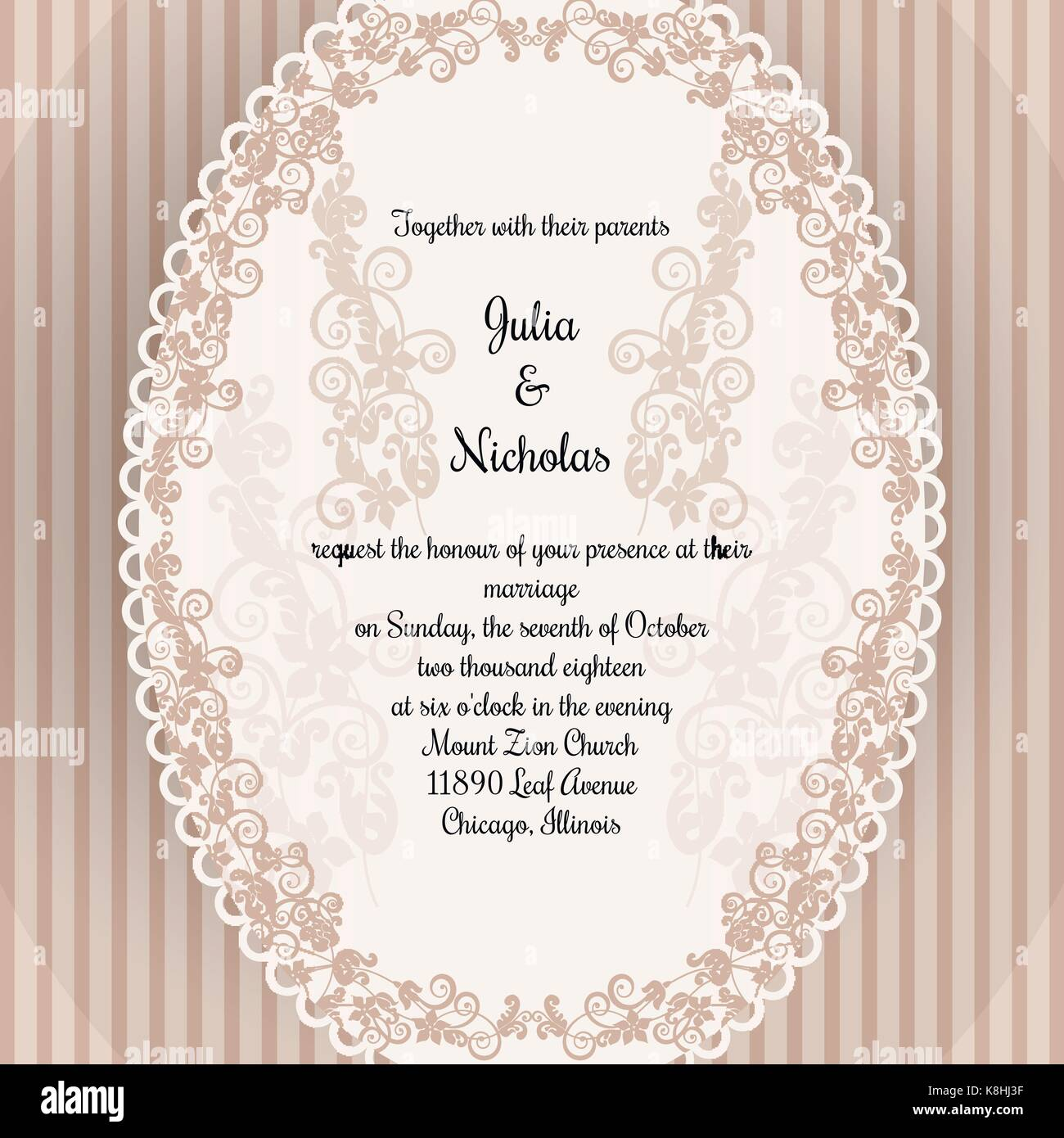 Wedding card template decorated with oval frame and flower ornament ...