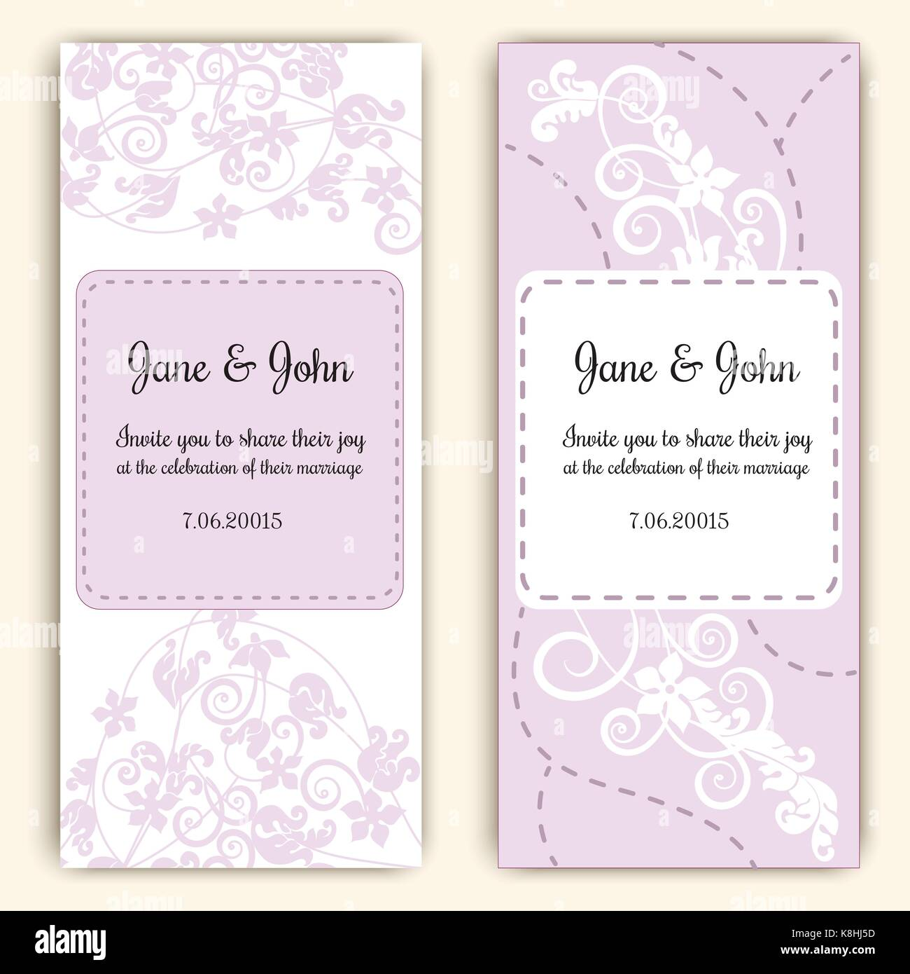 Beautiful template of wedding cards decorated with floral ornament ...