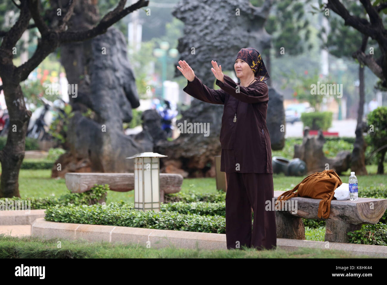 Woman practicing tai chi in a park. vietnam. - Stock Image