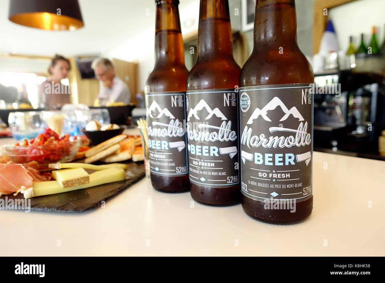 Marmotte beer. tradional beer from the french alps. france. - Stock Image