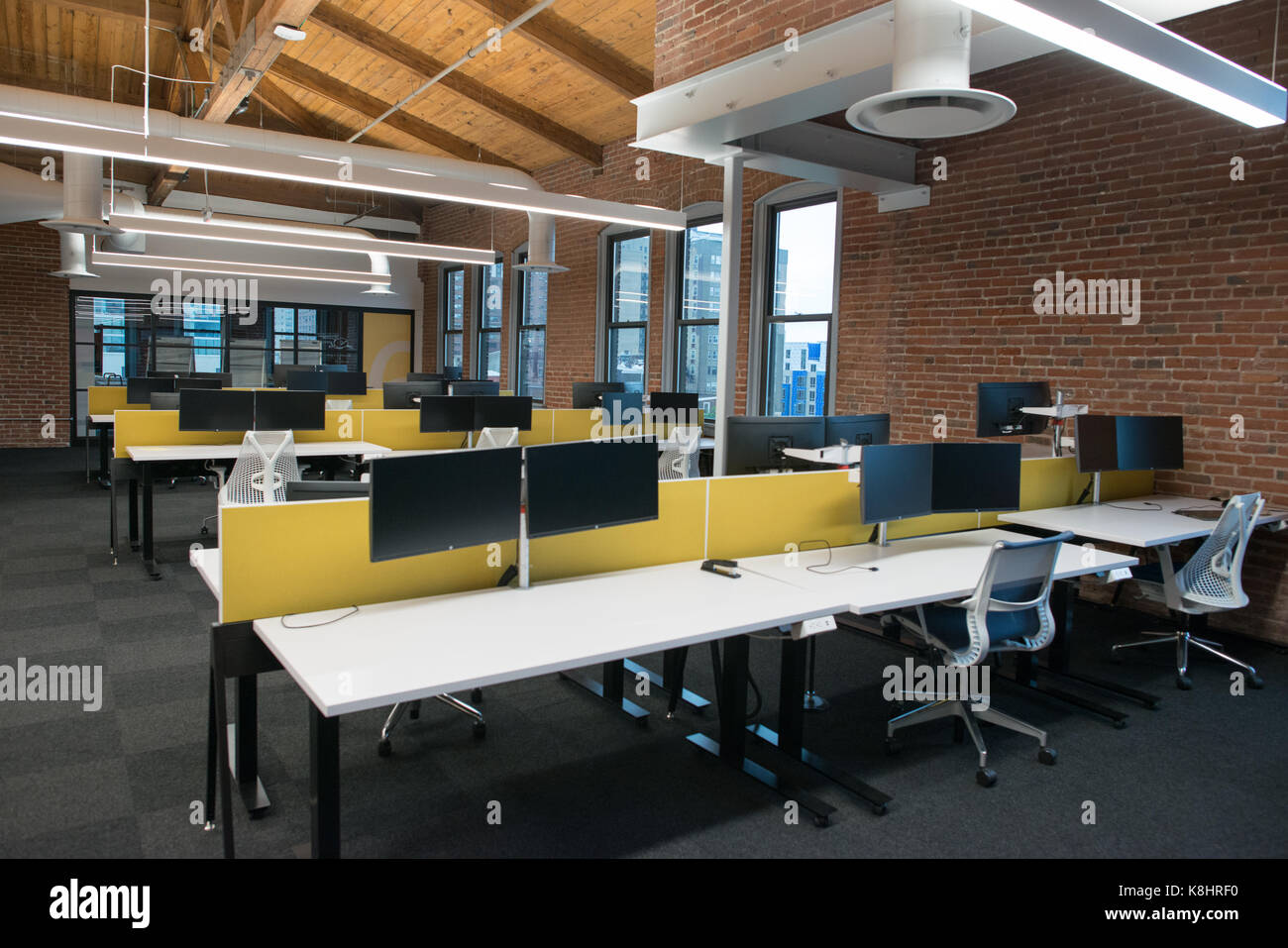open concept office space. Trendy Modern Open Concept Loft Office Space With Big Windows, Natural Light And A Layout To Encourage Collaboration, Creativity Innovation N