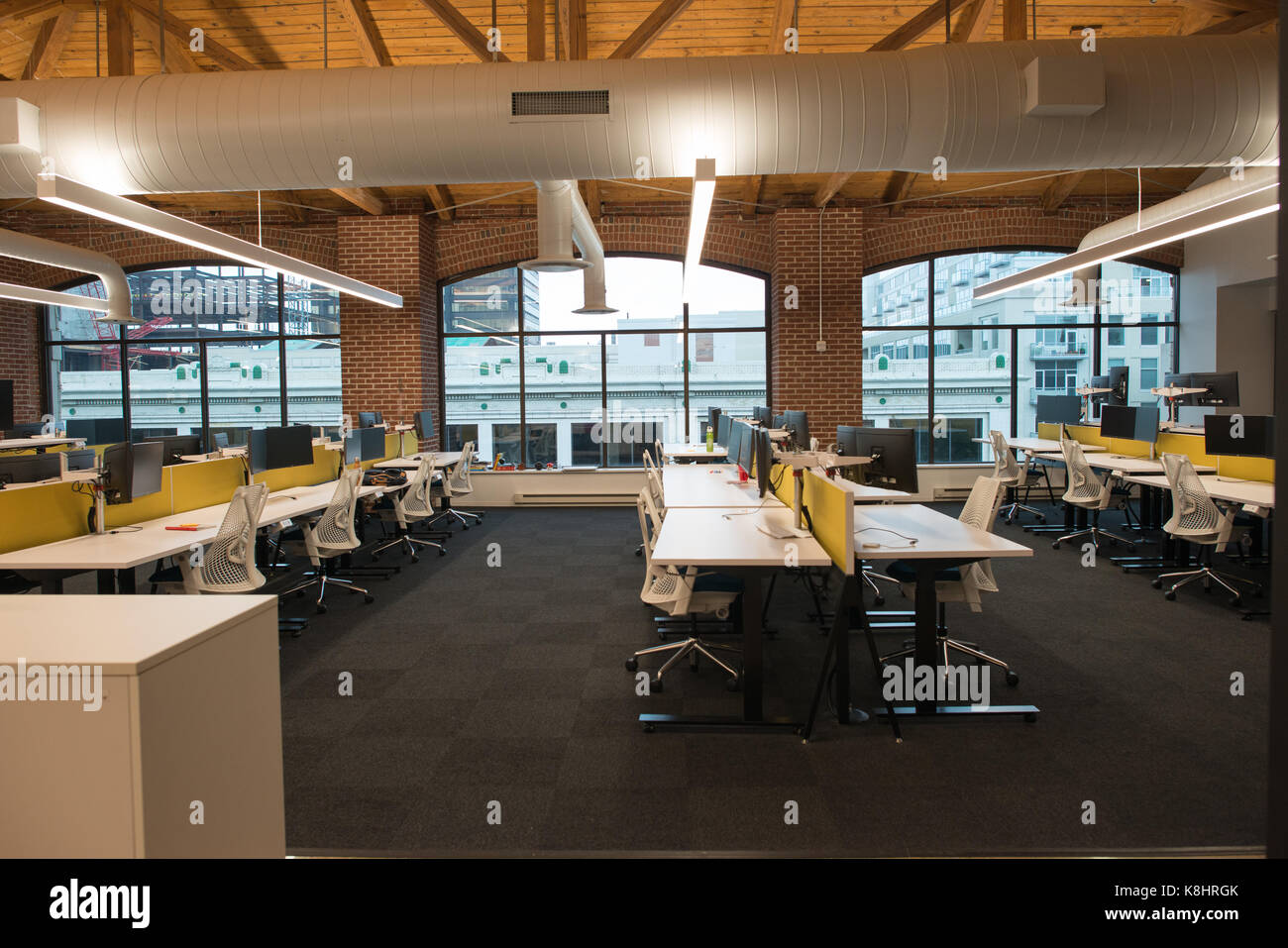 open concept office space. Trendy Modern Open Concept Loft Office Space With Big Windows, Natural Light And A Layout To Encourage Collaboration, Creativity Innovation W