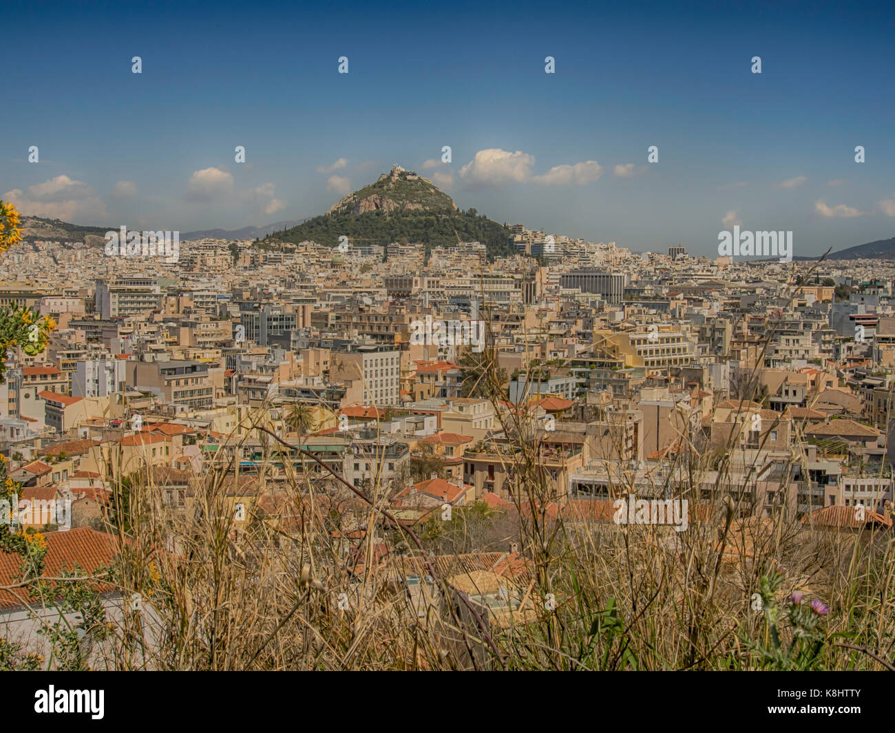 Athens, Greece - April 03, 2015: Athens - a view of the urban area north of the Agora, from the Acropolis, with - Stock Image