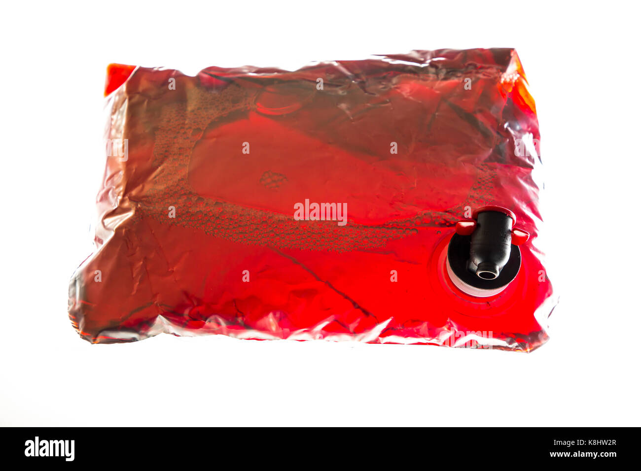 Wine pack, plastic bag, filled with red wine, convenient packaging, 5 Liter volume, tap device, - Stock Image
