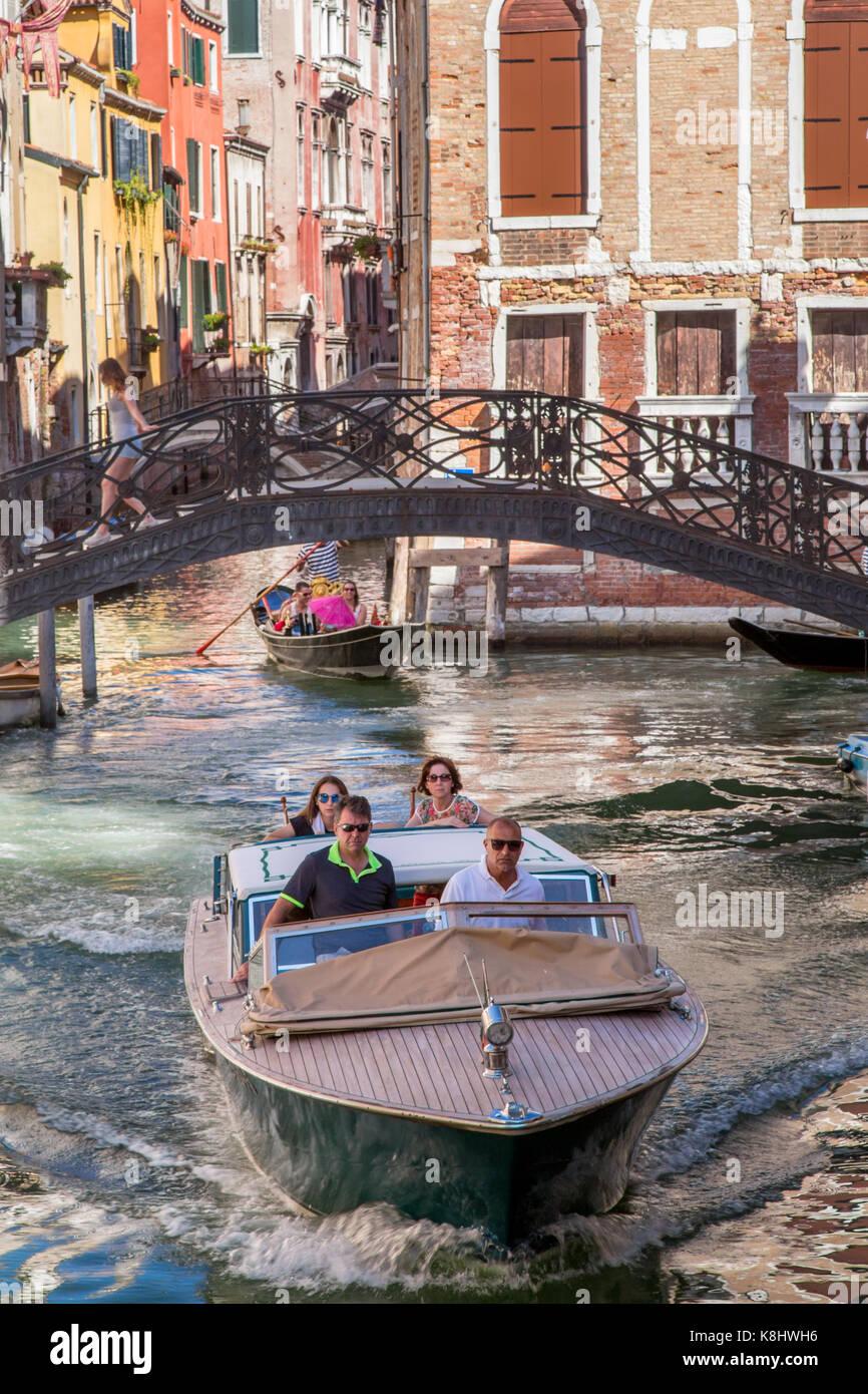 Venice canals and gondola, Italy - Stock Image