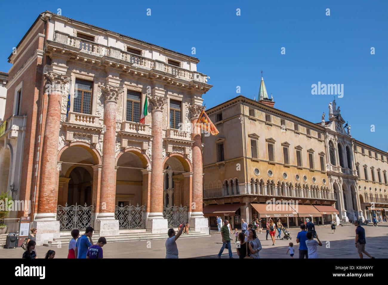 Piazza dei Signori with loggia del Capitanio and Church of St. Vincent buildings, Vicenza, Italy - Stock Image