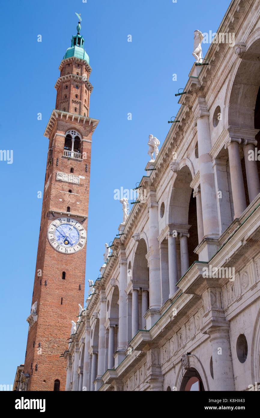 The Palladian Basilica and Torre di Piazza on Piazza dei Signori in Vicenza, Italy - Stock Image