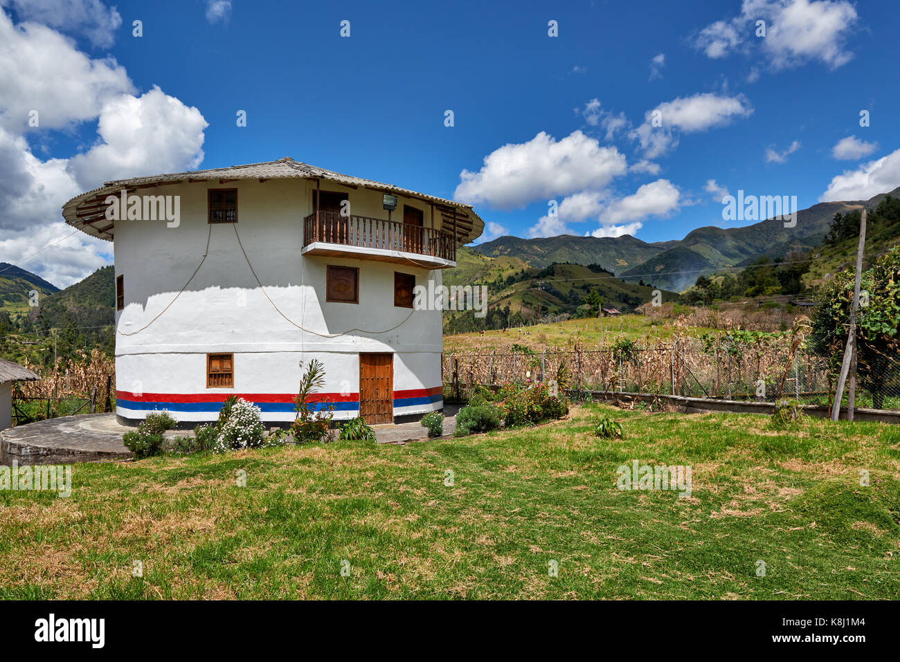 round bulding of local indigenous peoples museum in Silvia, Colombia, South America - Stock Image