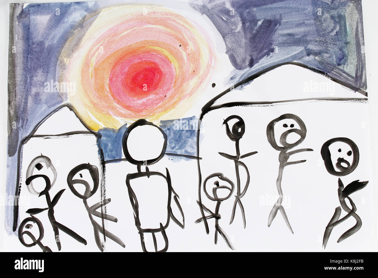 War bad dream child draw. Children drawings kid's draws collection.  Beautiful picture. Child