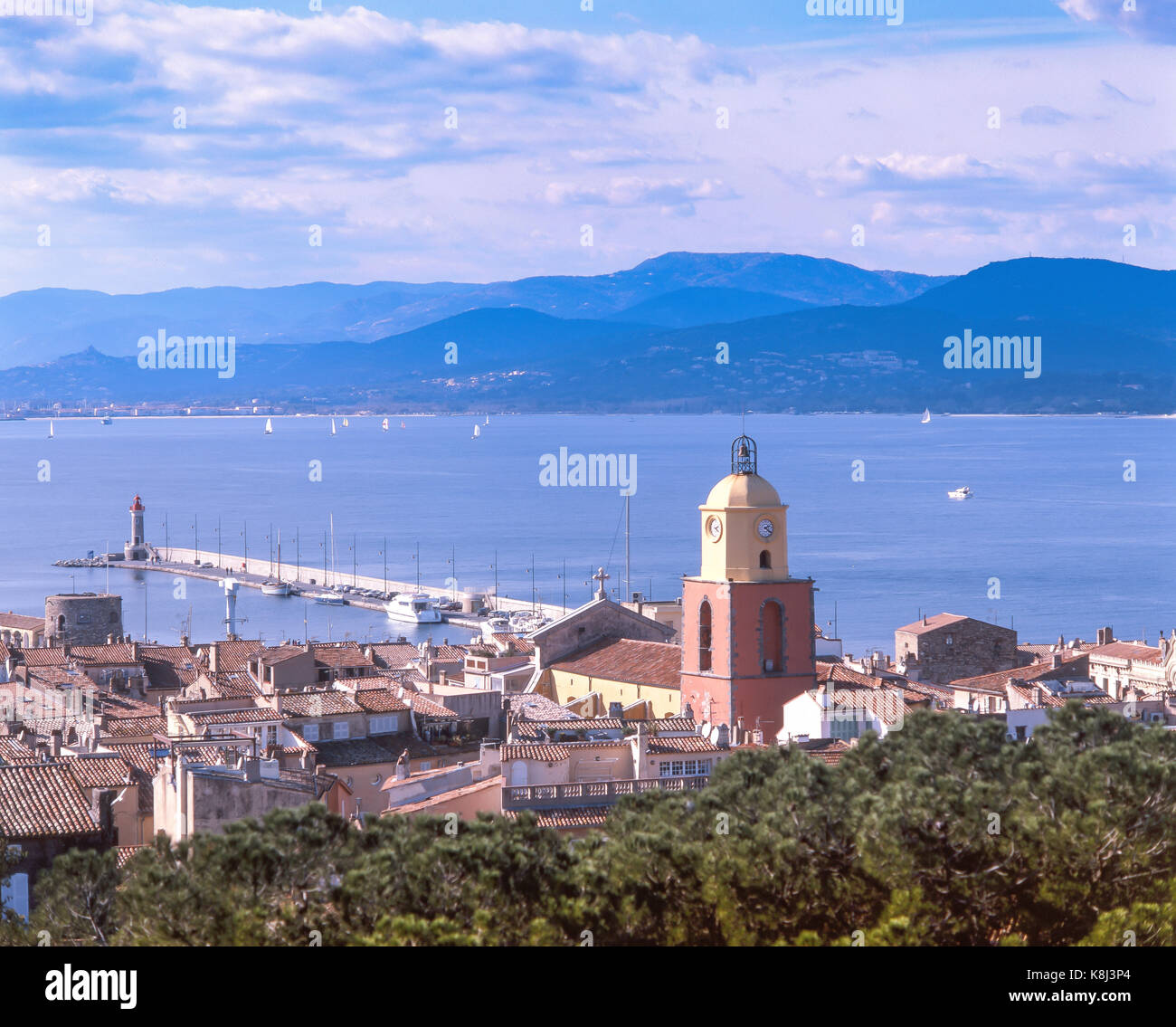 Old Town and harbour from Fort, Saint-Tropez, Var, Provence-Alpes-Côte d'Azur, France - Stock Image