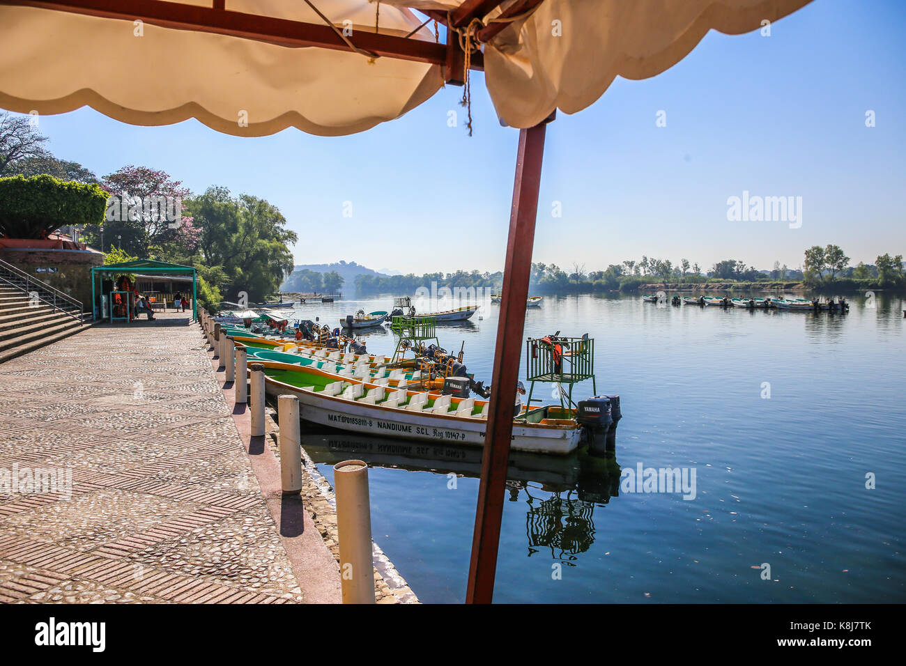 River Boats at Embarcadero, Chiapa de Corzo for Sumidero Canyon - Stock Image