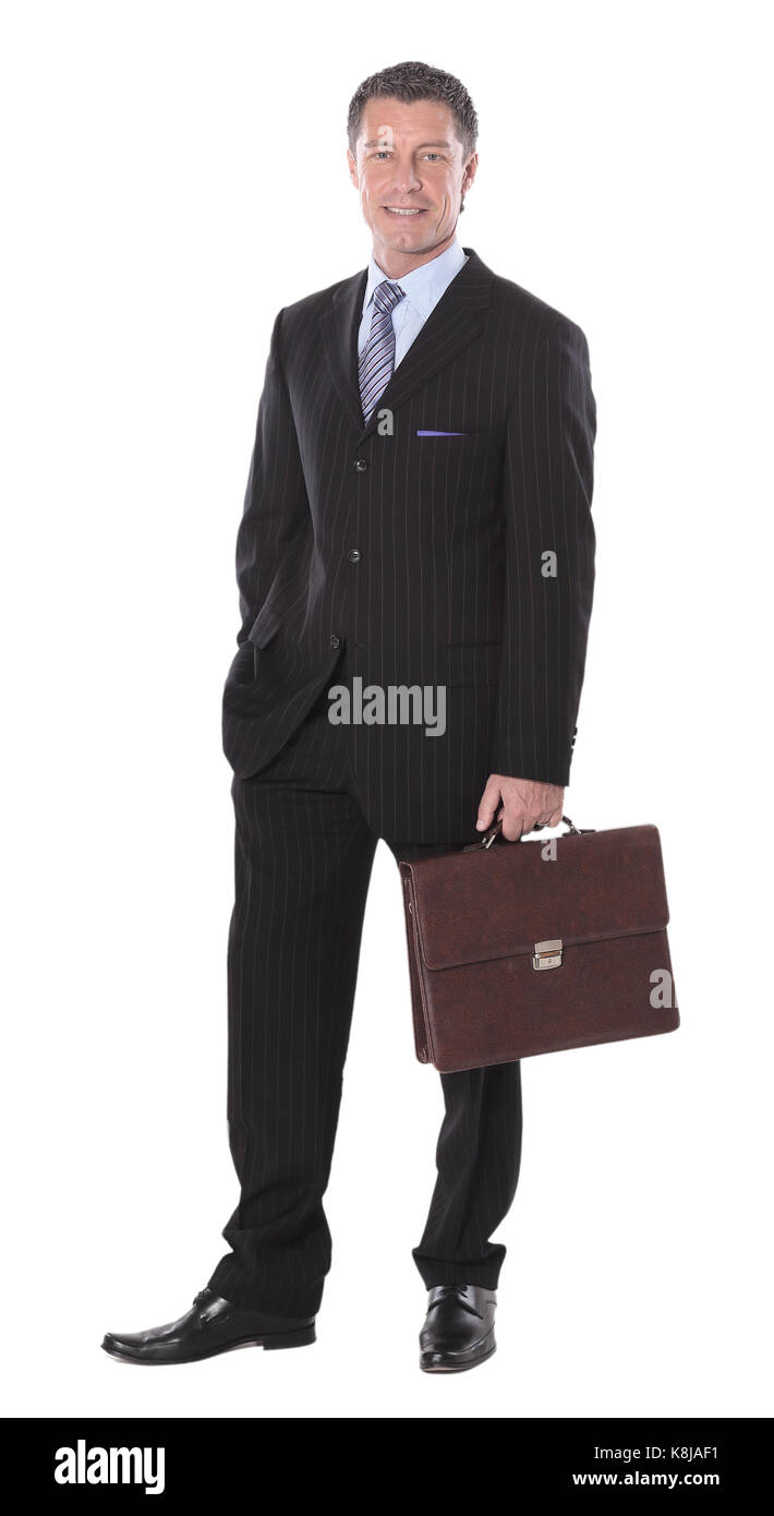 Business man with suitcase  isolated on white background - Stock Image