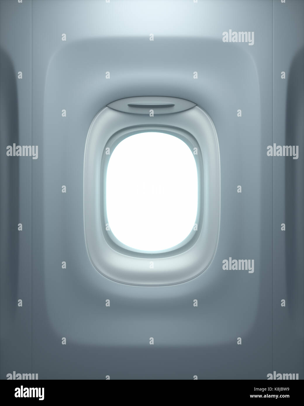 View from inside the airplane, through the open window. Clipping path included. - Stock Image