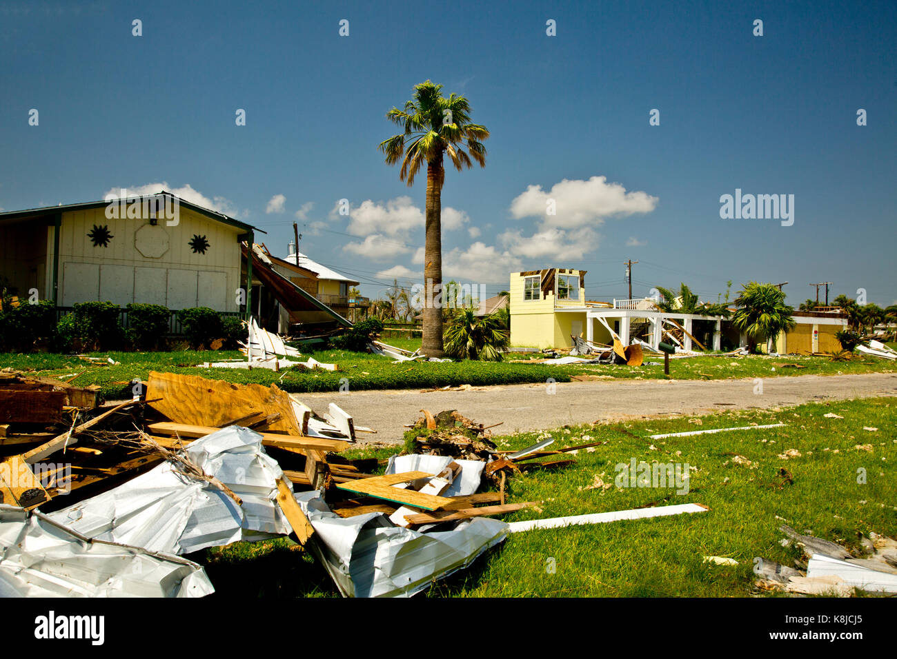 Buildings and homes destroyed by Hurricane Harvey in Rockport or Fulton, Texas - Stock Image