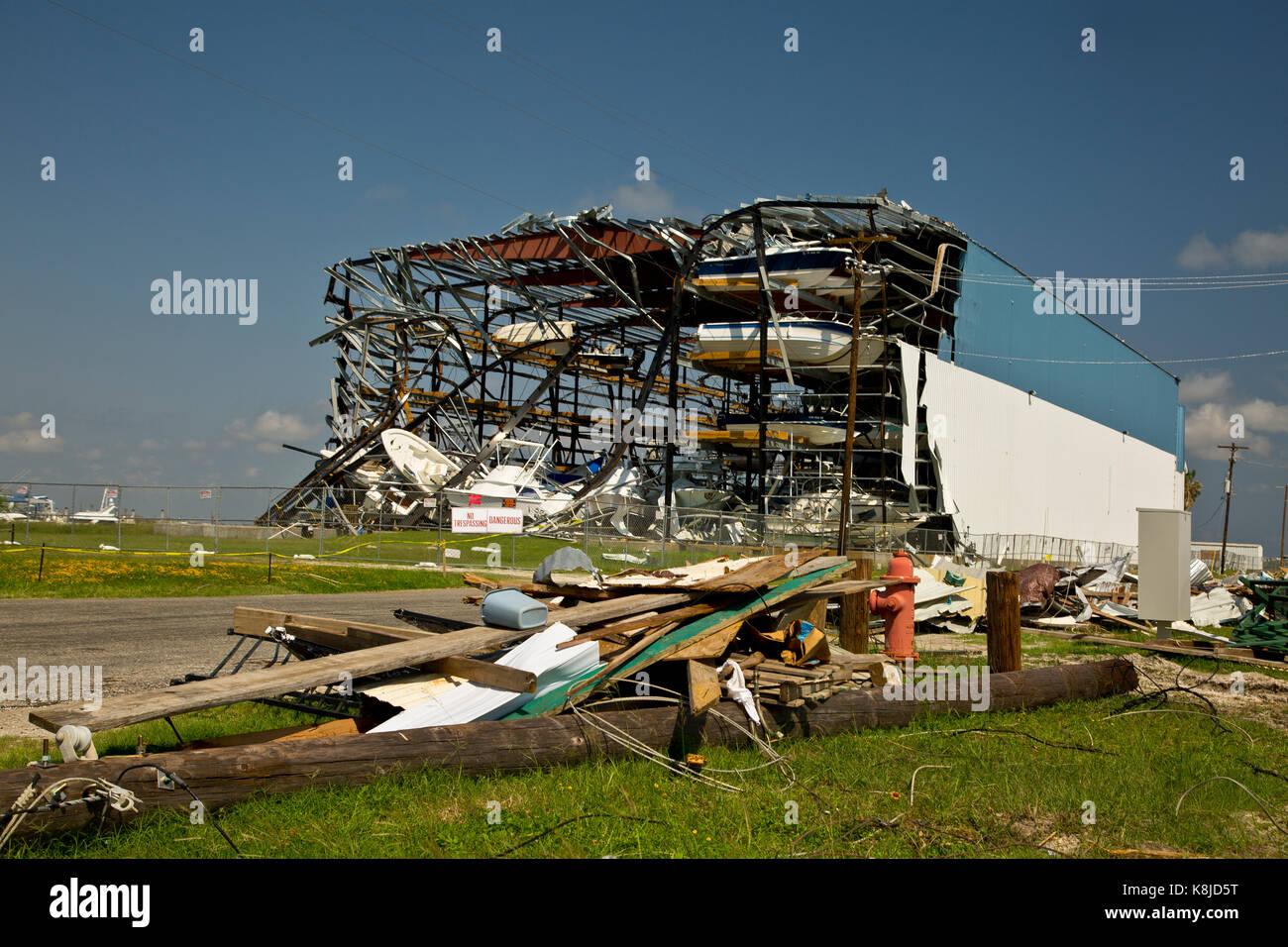 Large boat storage facility destroyed by Hurricane Harvey nears Aransas Pass, Texas USA - Stock Image