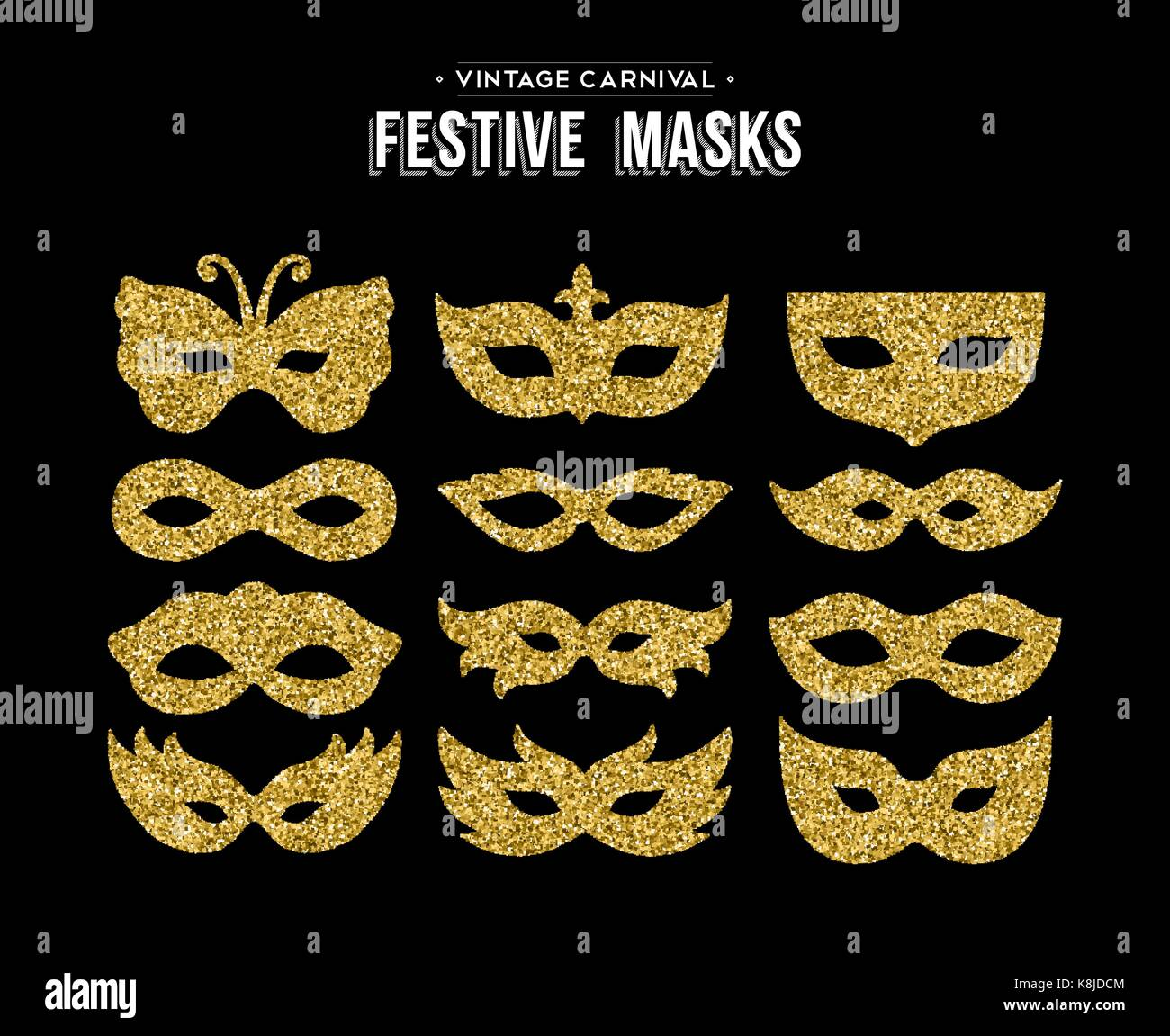 gold carnival masks template set made of golden glitter dust luxury