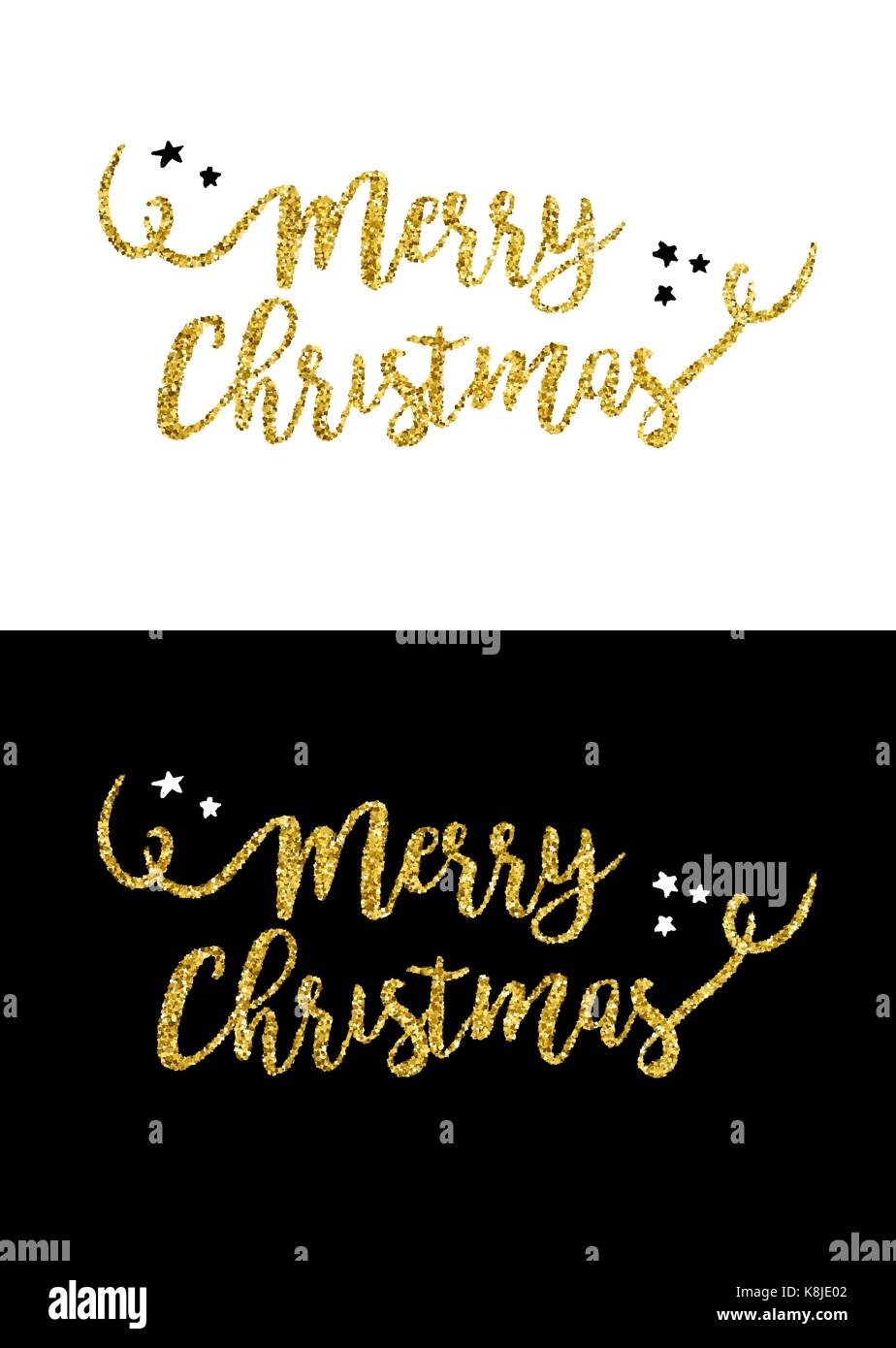 Gold merry Christmas text quote calligraphy lettering design for