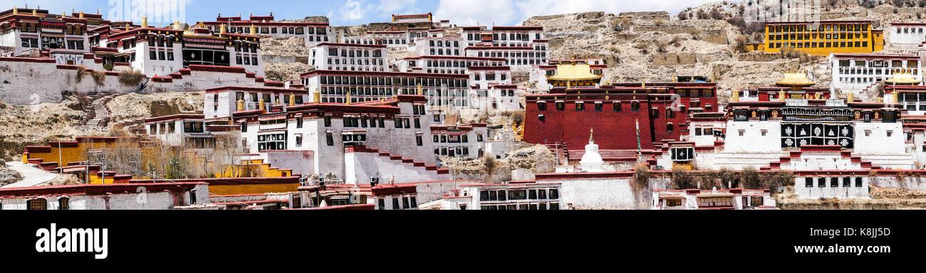 Ganden Buddhist Monastery near Lhasa, Tibet. - Stock Image