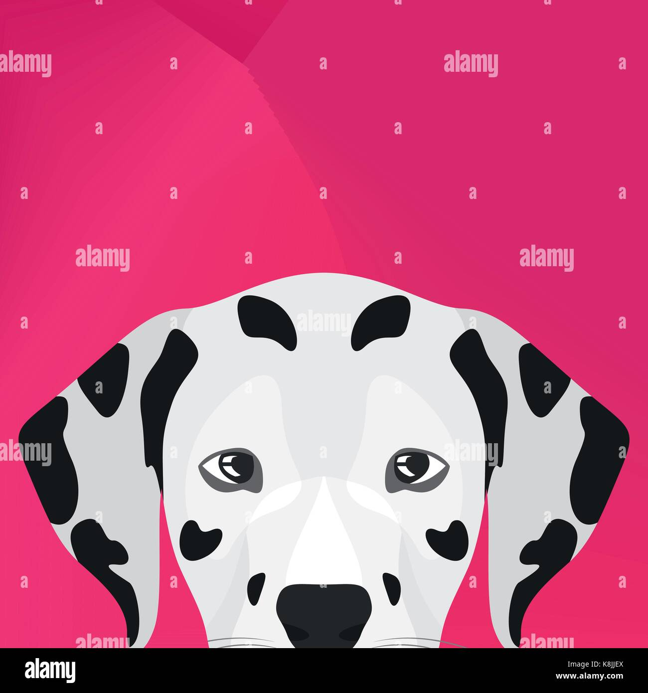 Illustration Dog Dalmatian looking over wall for the creative use in graphic design - Stock Vector