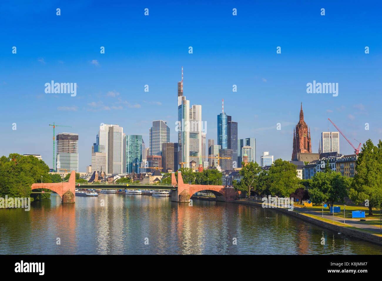 Frankfurt city skyline at business district, Frankfurt, Germany - Stock Image
