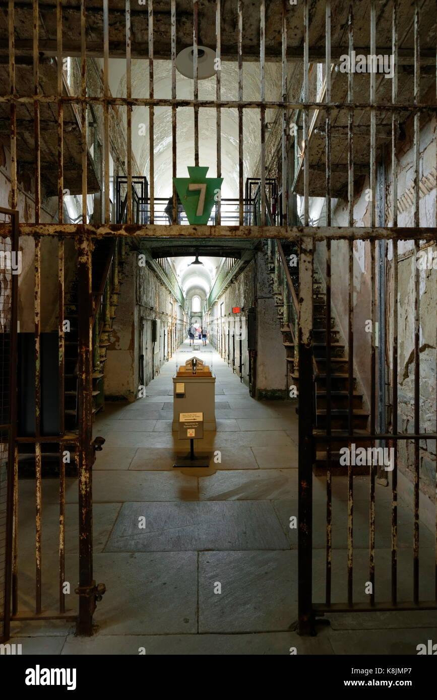 Cellblock corridor at Eastern state Penitentiary, Philadelphia, Pennsylvania, USA. - Stock Image