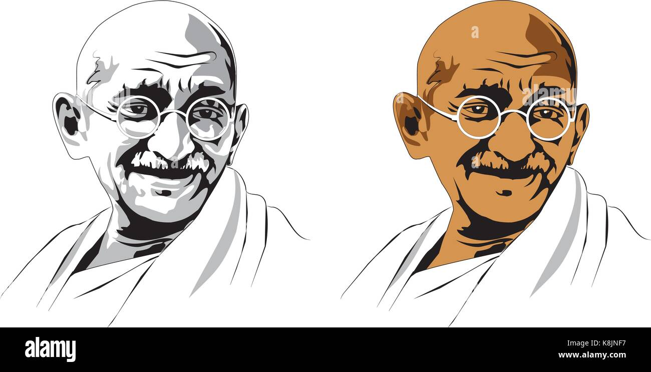 stock vector illustration of Mohandas Karamchand Gandhi or mahatma gandhi, great Indian freedom fighter who promoted - Stock Image