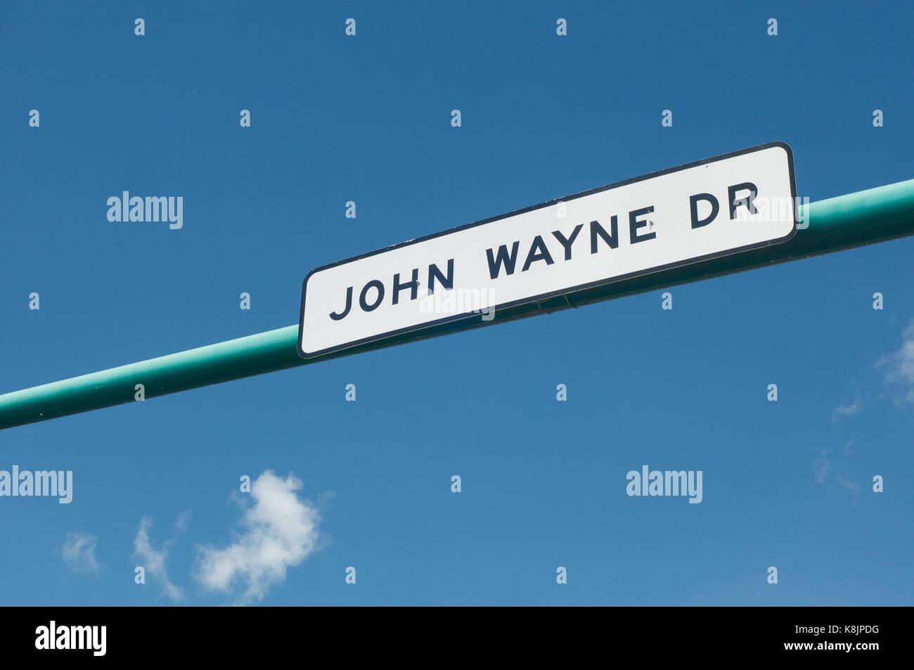 John Wayne Drive in Winterset, Madison County, Iowa - Stock Image