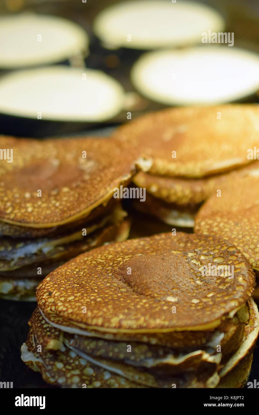 Making pancakes close up  Selective focus Stock Photo