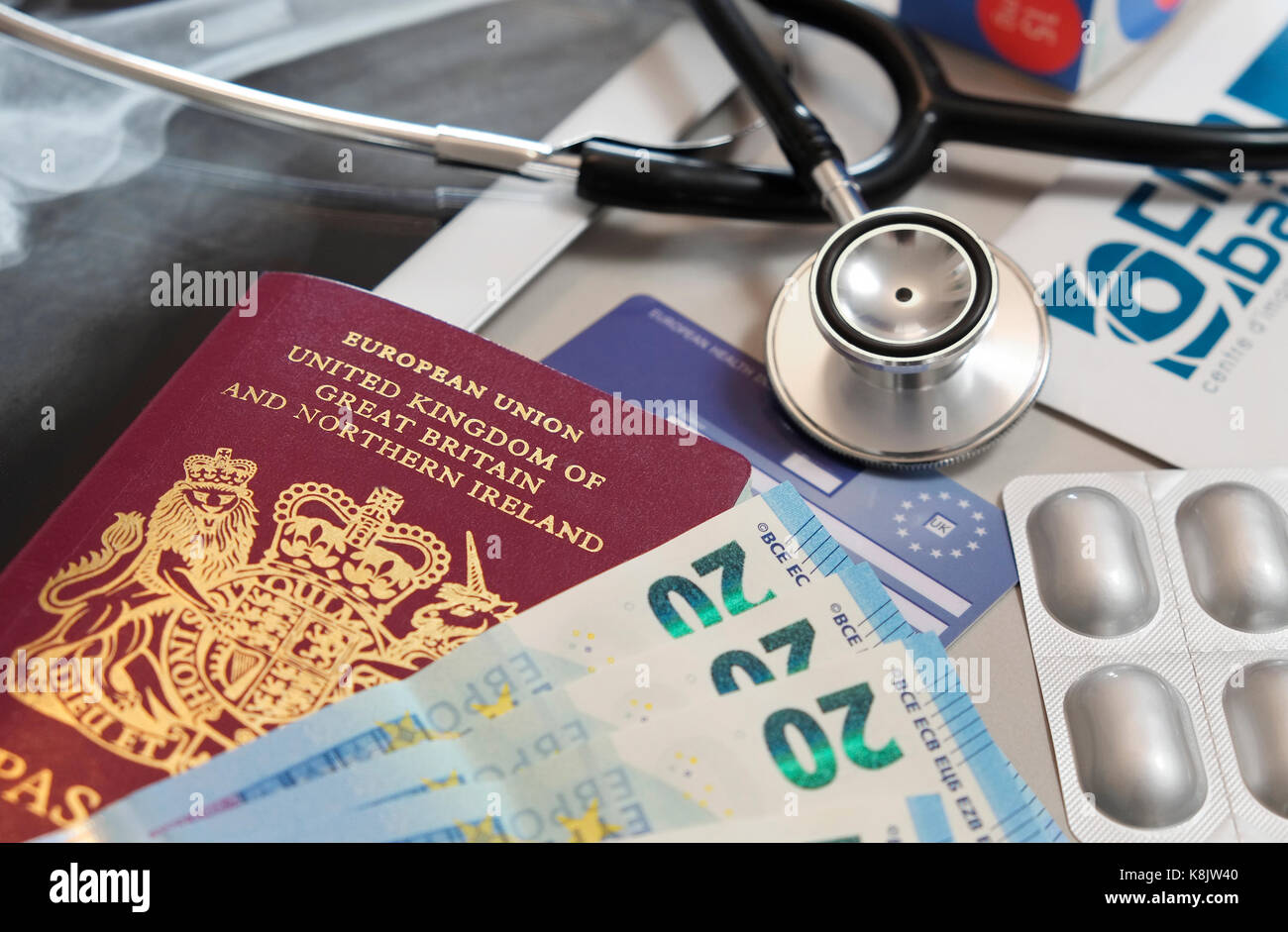 european medical healthcare and holiday travel insurance - Stock Image
