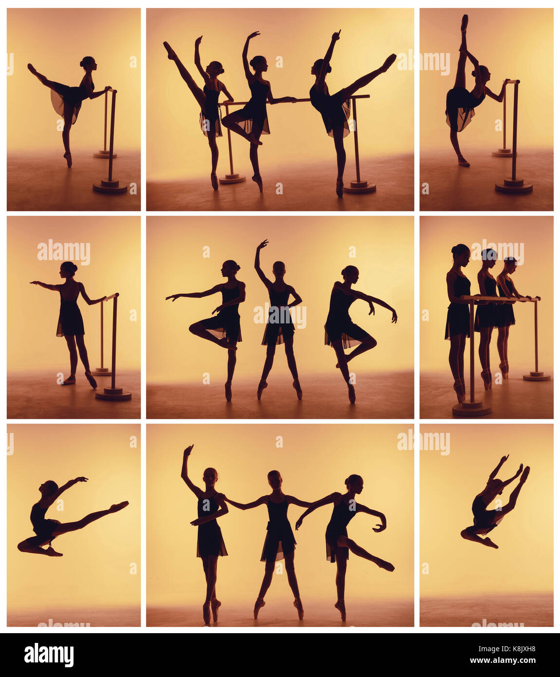 Composition From Silhouettes Of Three Young Dancers In Ballet Poses Stock Photo Alamy