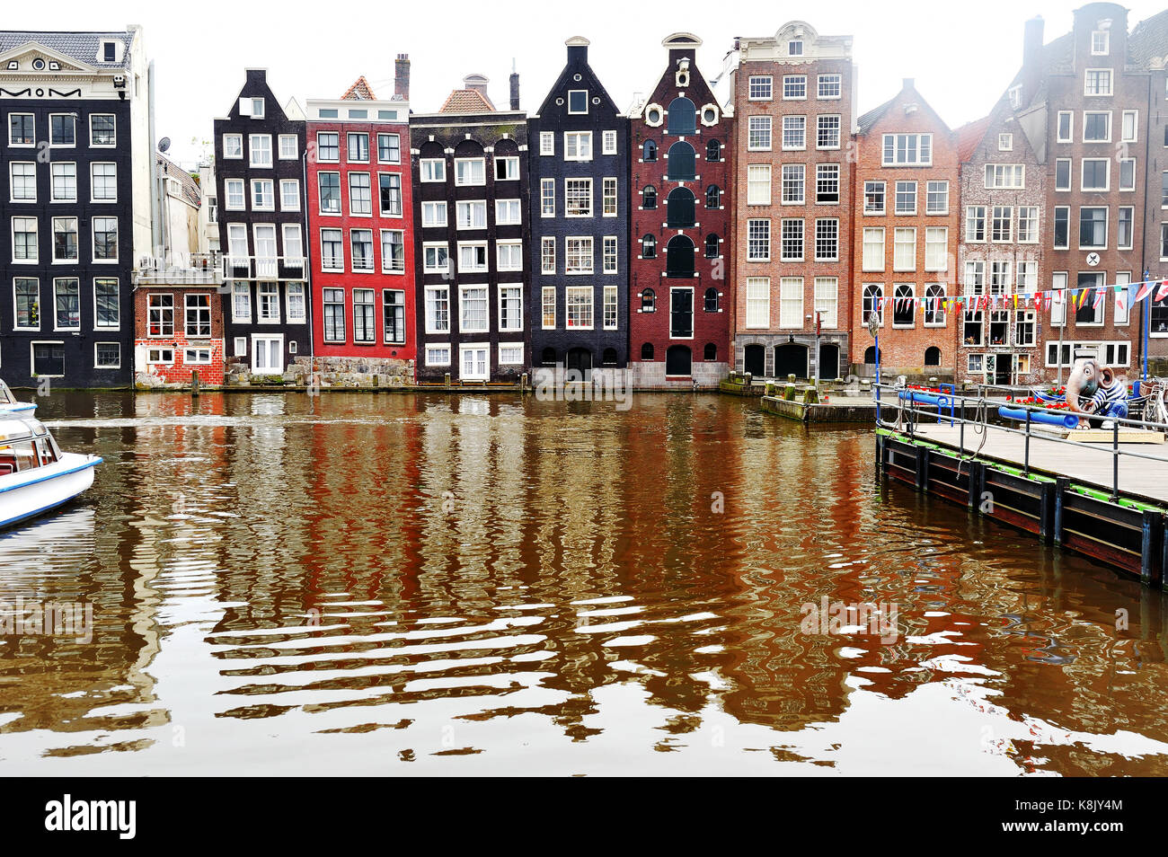 Amsterdam, Holland, Europe - view of a canal and characteristic buildings Stock Photo
