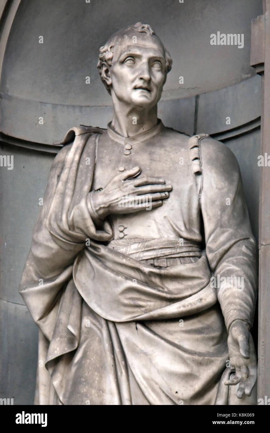 Amerigo Vespucci 1454 - 1512 Italian explorer, financier, navigator, and cartographer. Statue at the Uffizi Gallery - Stock Image